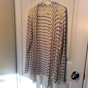 White Maurice's cardigan with stripes